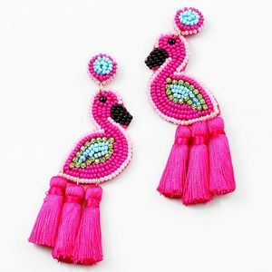 Jewelry - PINK BEADED CRYSTAL FLAMINGO TASSEL EARRINGS